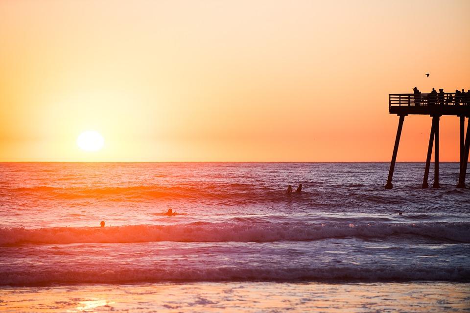 Sunset, Beach, Water, Waves, Ocean, Sea, Pier, Swimming
