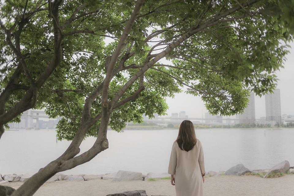 Girl, Lonely, Japan, Odaiba, Tree, Beach