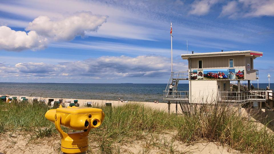 Usedom, Zinnowitz, Sky, Beach, Sea, Blue, Clouds