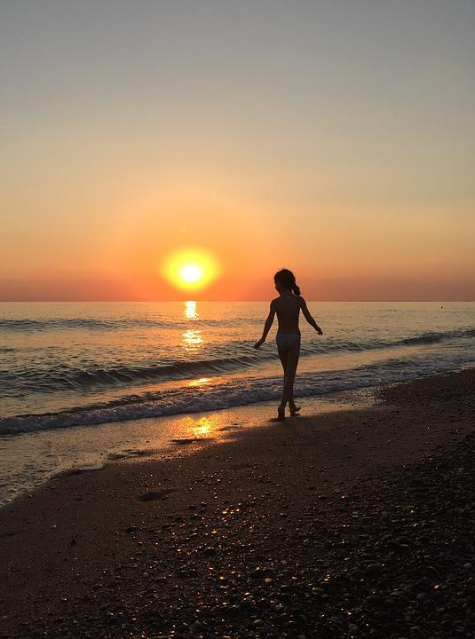 Baby, Sunset, Sea, View, Outdoors, Beach, Travel