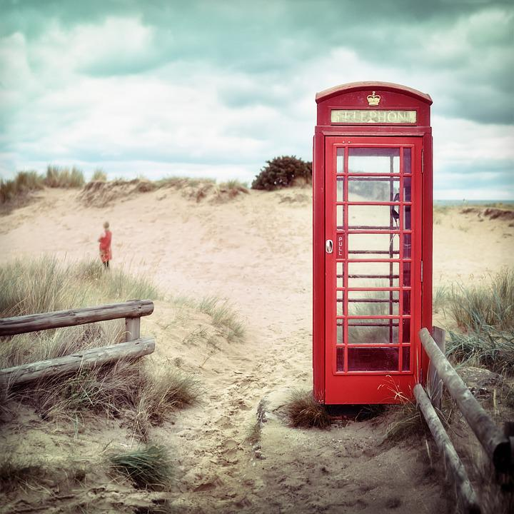 Phone Booth, Beach, Lonely, Alone, Wait, Call, Red