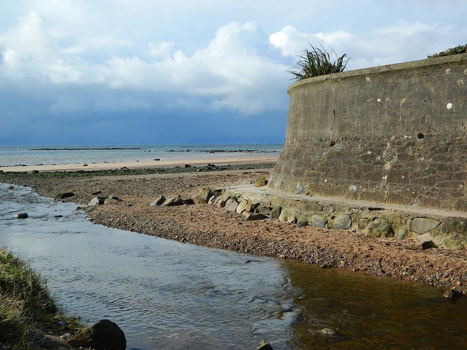 Stream, Sea, Sky, Beach, Wall, Flowing, Ocean