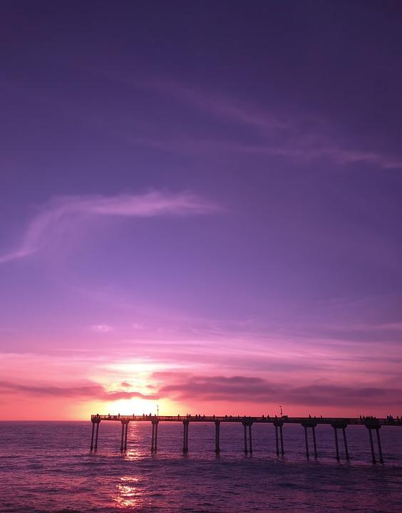 Pier, Sunset, Sky, Water, Beach, Dusk, Ocean, Scenic