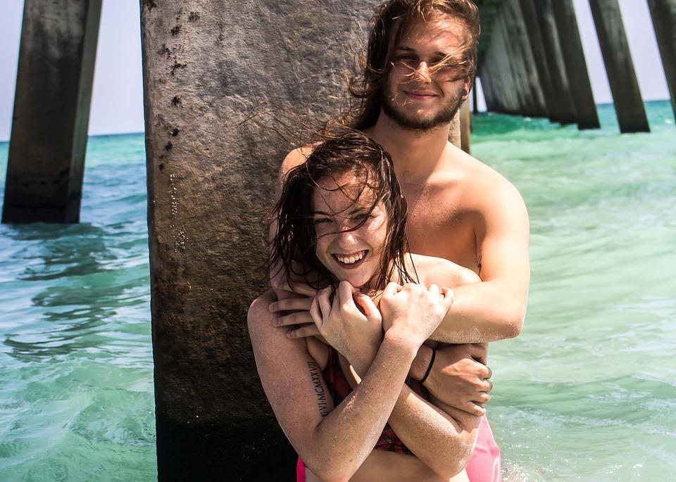 Beach, Couple, Love, Ocean, Water, Docks, Pier, Embrace