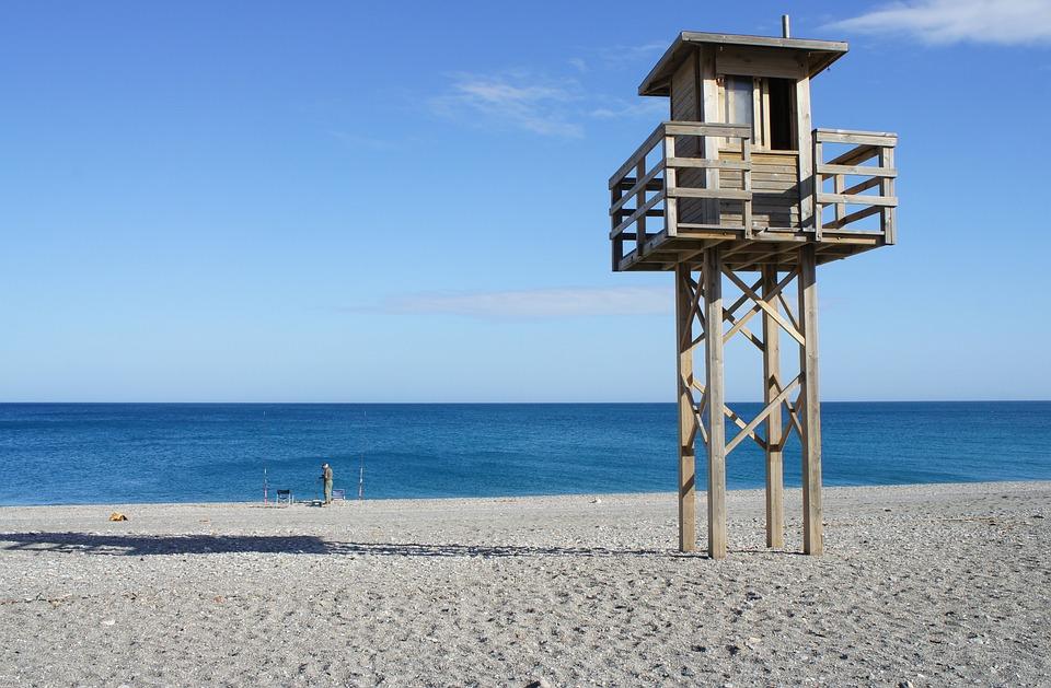 Sea, Fisherman, Tower, Rescue, Beach, Sand, Water