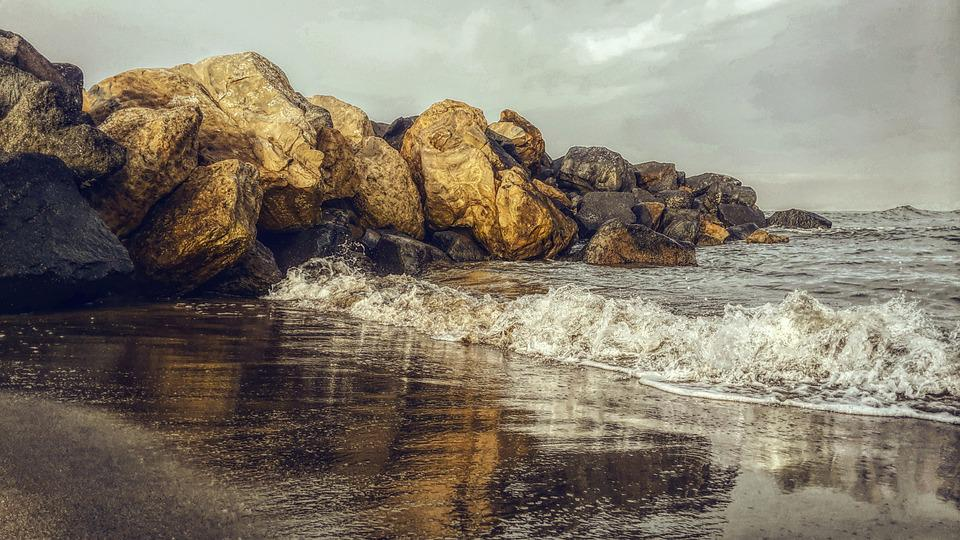 Beach, Rocks, Water, Sky, East, Sunset, Waves, Rain