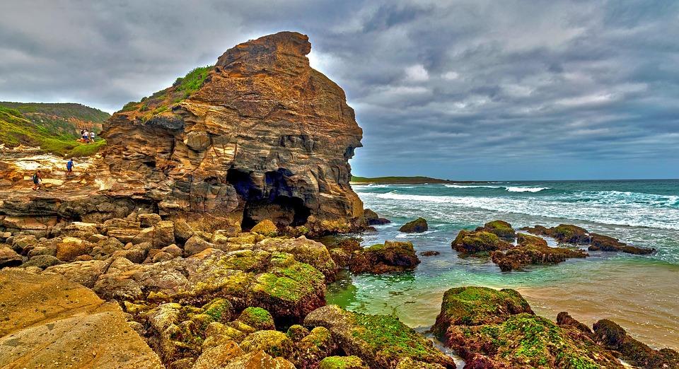 Cave, Beach, Sand, Rocks, Waves, Australia