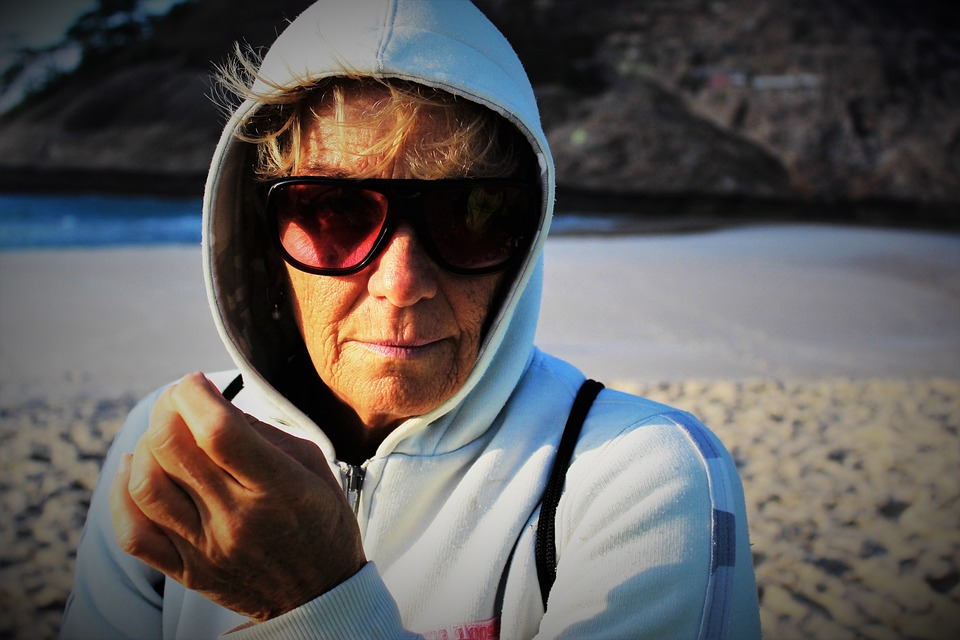 Elderly Woman, Woman, Beach, Sunglasses, White