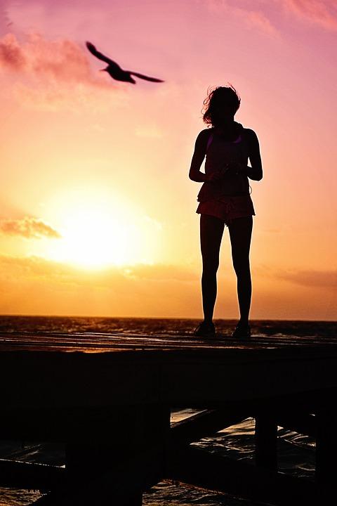 Woman, Silhouette, Sunrise, Beach