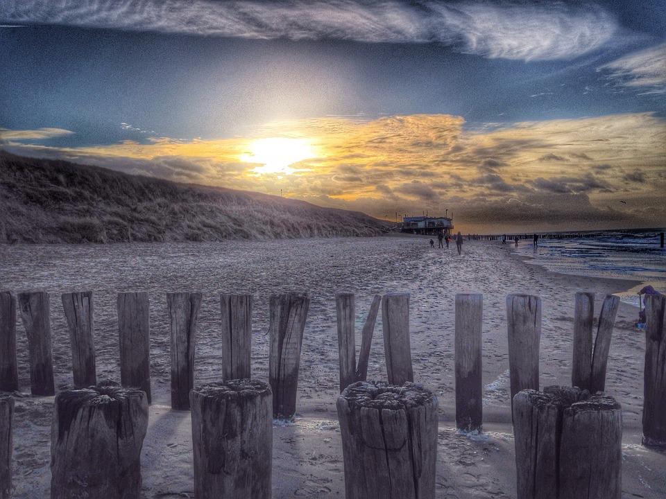 Beach, Water, Sea, Wood, Sand, Domburg, Zeeland, Post