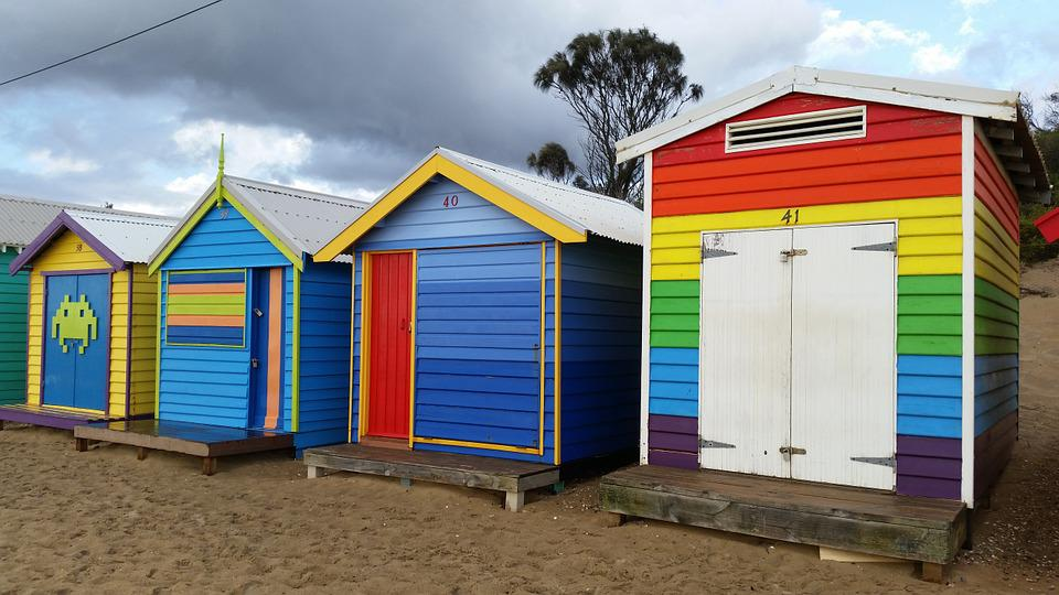 Beach Hut, Colour, Color, Beach-huts, Beach, Seaside