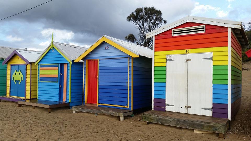 Beach Hut, Colour, Color, Beach-huts, Beach, Seaside