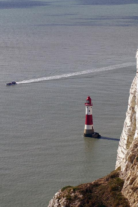 Lighthouse, Warning, Beachy Head, England, Sussex