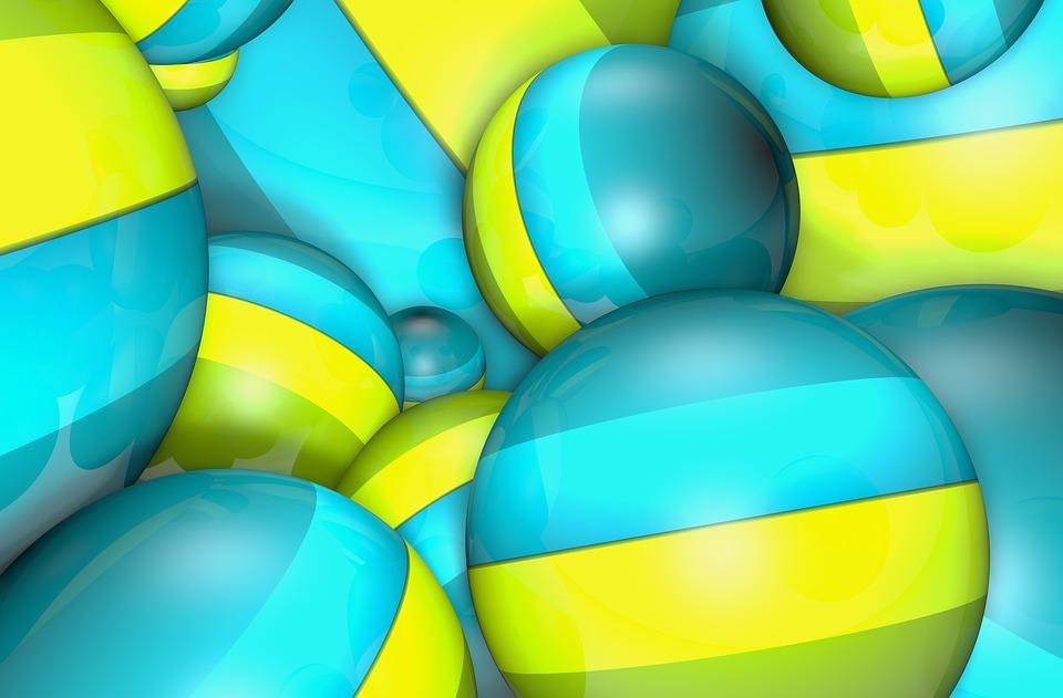 Wallpaper, Balls, Bead, Blue, Yellow, Green, 3d
