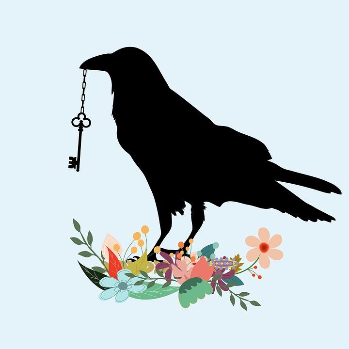 Bird, Raven, Black, Crow, Beak, Key, Holding, Flowers