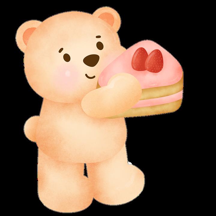 Bear, Cake, Birthday, Teddy Bear, Pie, Slice