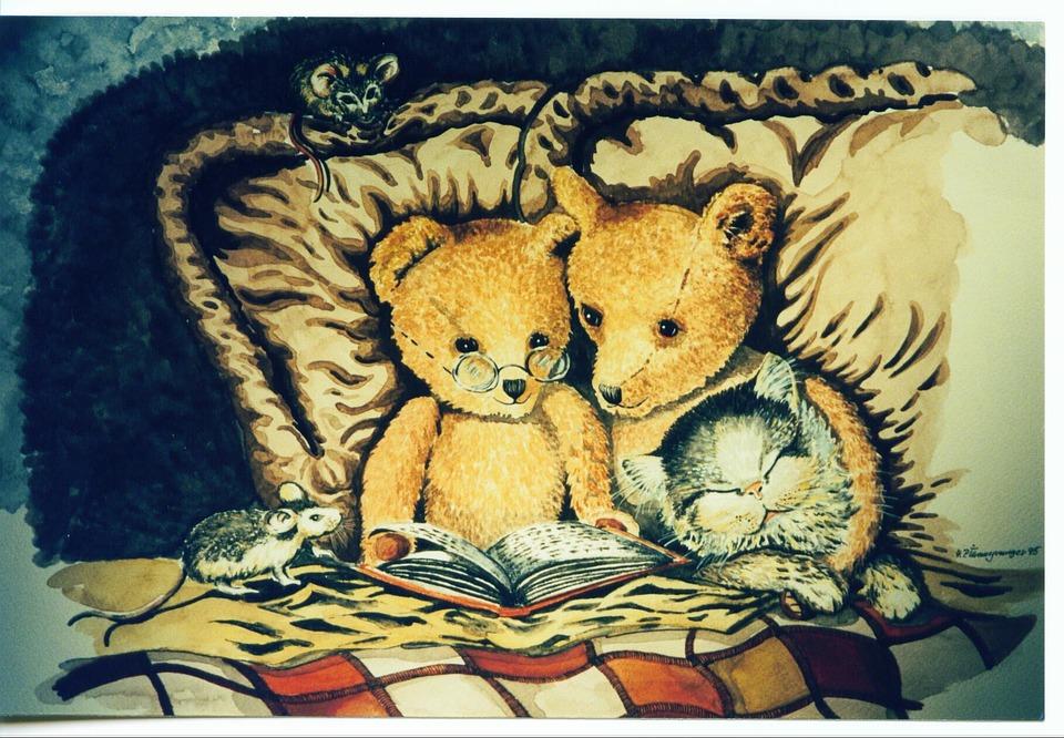 Watercolour, Painting, Decorative, Teddy, Bear, Cat