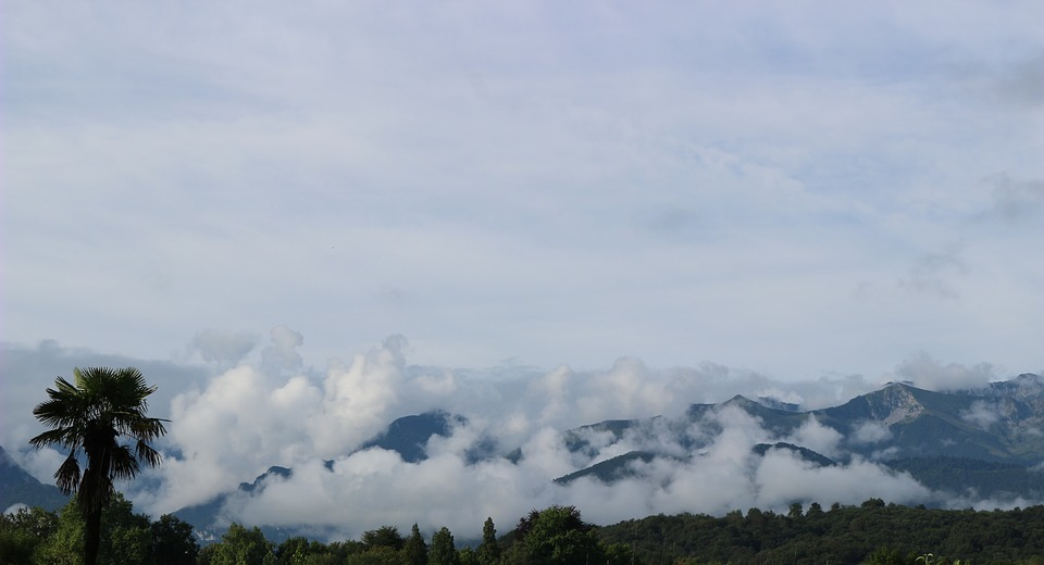 Mountains, The Pyrenees, Béarn, France, Clouds