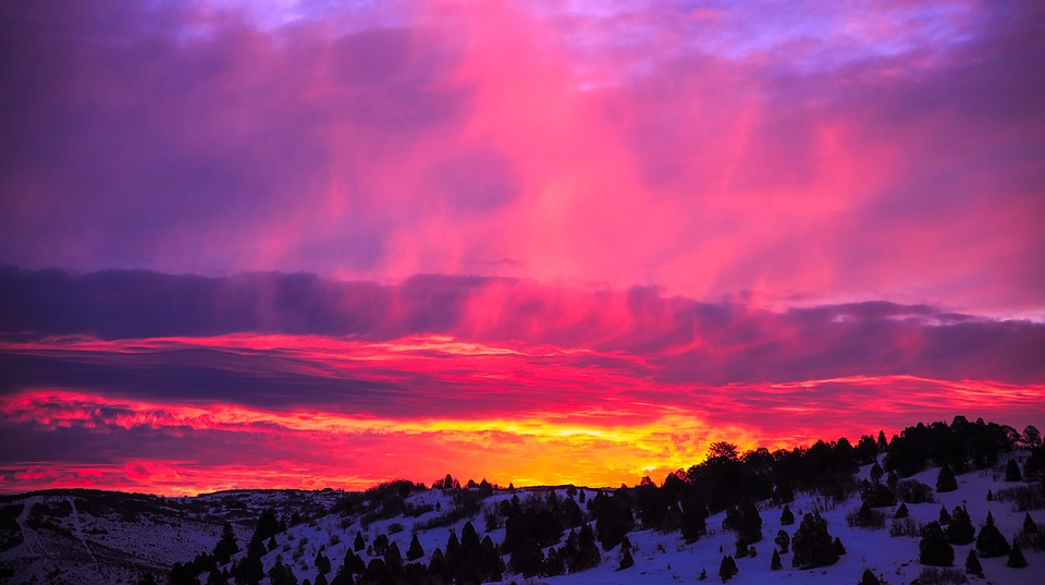 Free Photo Beautiful Dusk Sunrise Utah Snow Winter Sunset