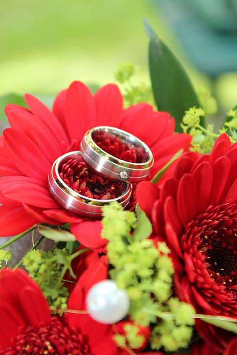 Wedding Ring, Flowers, Marriage, Gold Ring, Beautiful