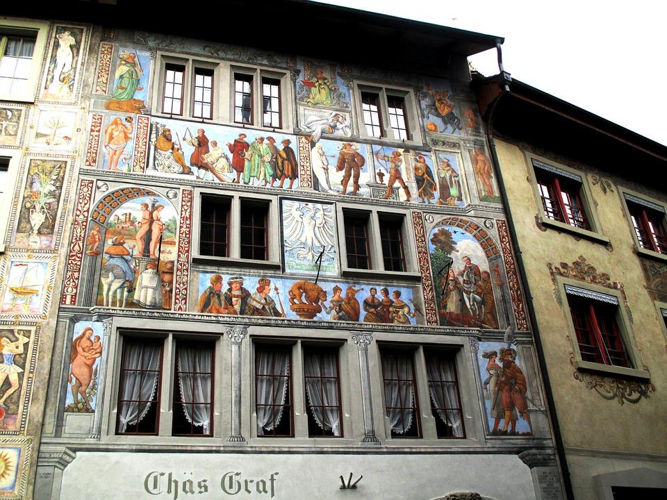 Old Town, Mural, Row, Art, Window, Seedlings, Beautiful