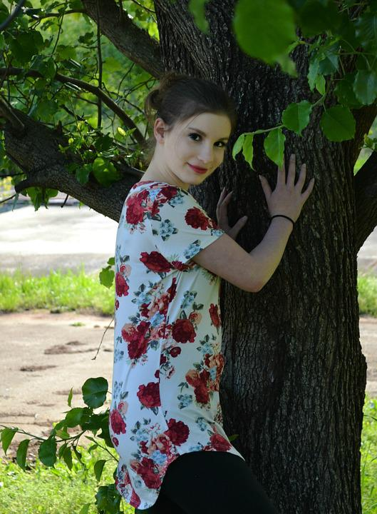 Girl, Nature, Summer, Outdoors, Park, Tree, Beautiful