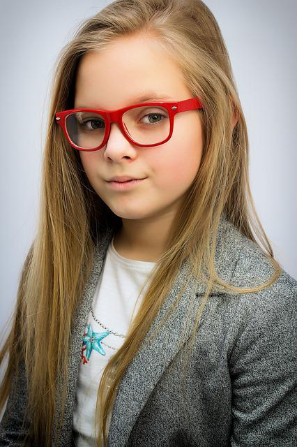 free photo beautiful young girl woman red glasses portrait