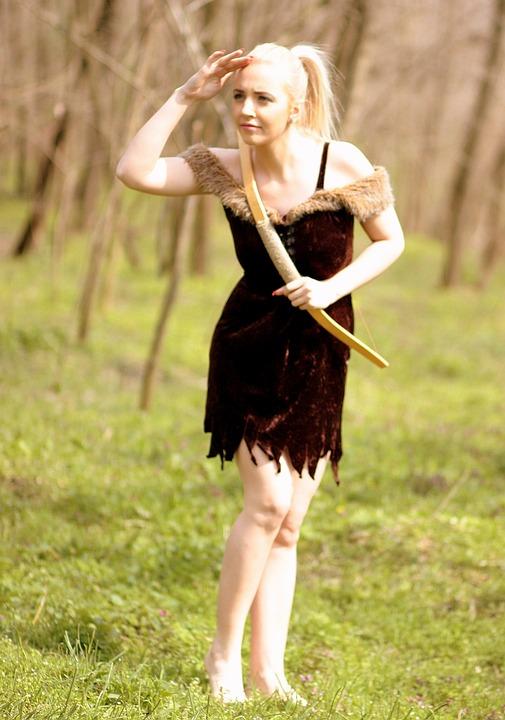 Girl, Warrior, Arc, Blonde, Wild, Forest, Beauty