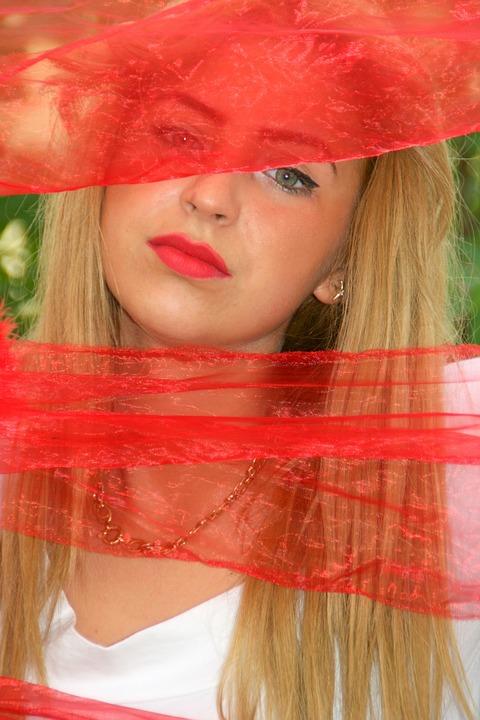 Girl, Portrait, Veil, Red, Beauty, Blonde