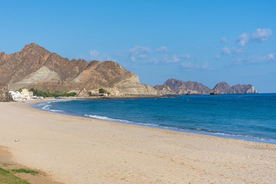 Beach, Rock, Coast, Blue, Oman, Beauty, Coastline