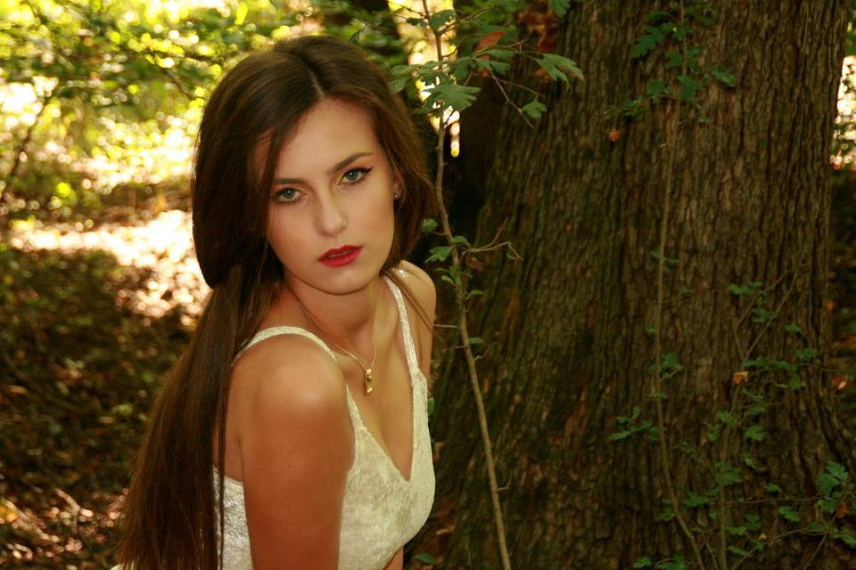 Girl, Beauty, Portrait, Long Hair, Seductive, Forest