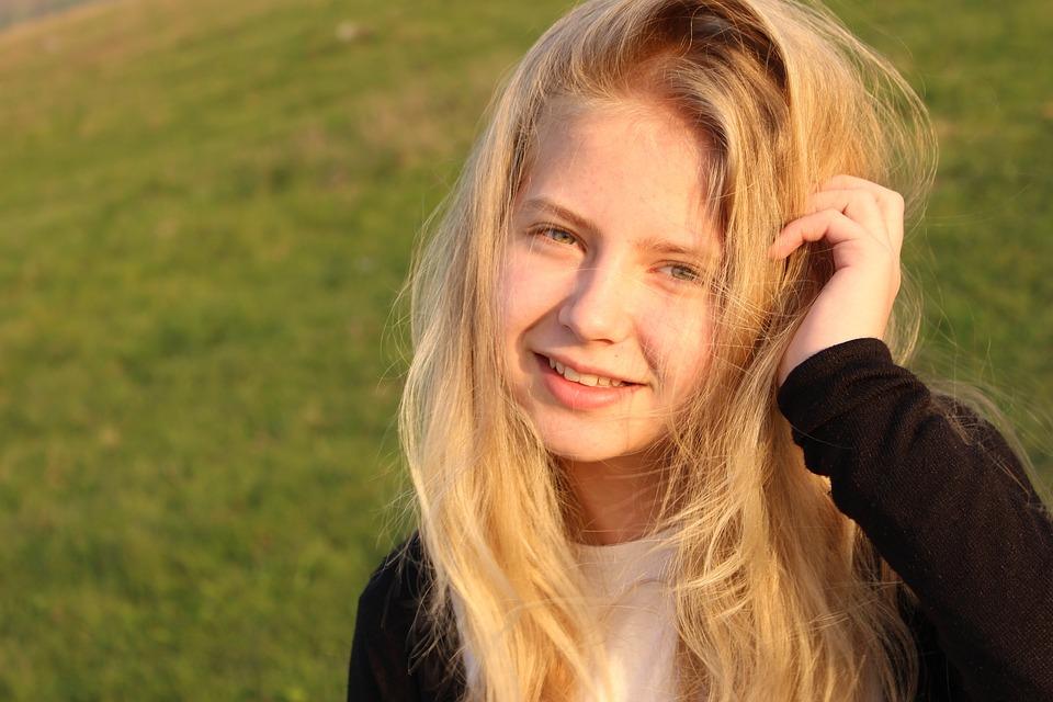 Girl, Blond Hair, Blue Eyes, Nature, Beauty