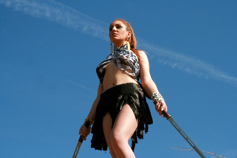Warrior, Woman, Sword, Wild, Beauty, Blonde, Girl