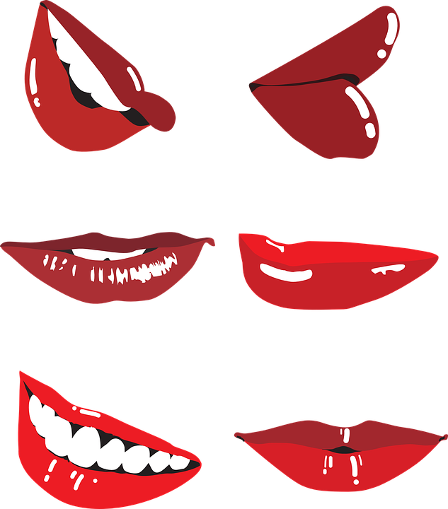 Laughter, Smile, Outline, Lips, Beauty, Vector