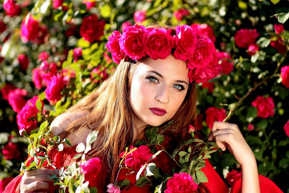 Woman, Beauty, Roses, Flower Crown, Flowers, Red Roses