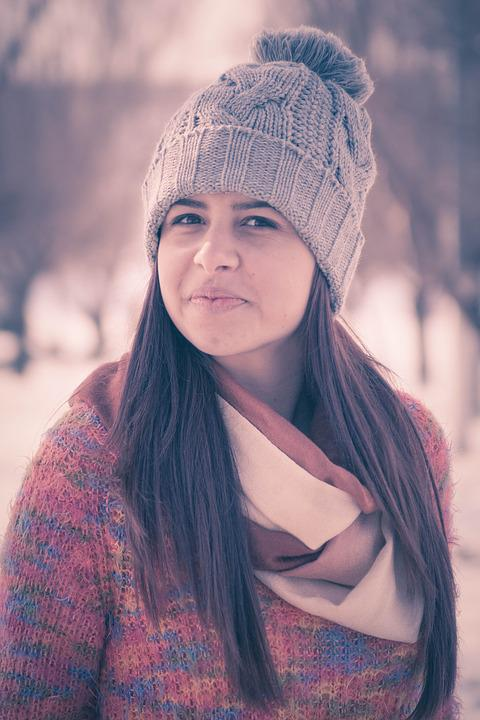Girl, Portrait, Smile, Beauty, Winter, Joy
