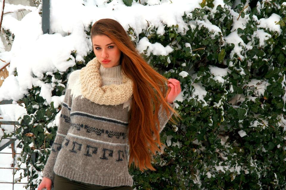 Girl, Long Hair, Blonde, Winter, Snow, Beauty