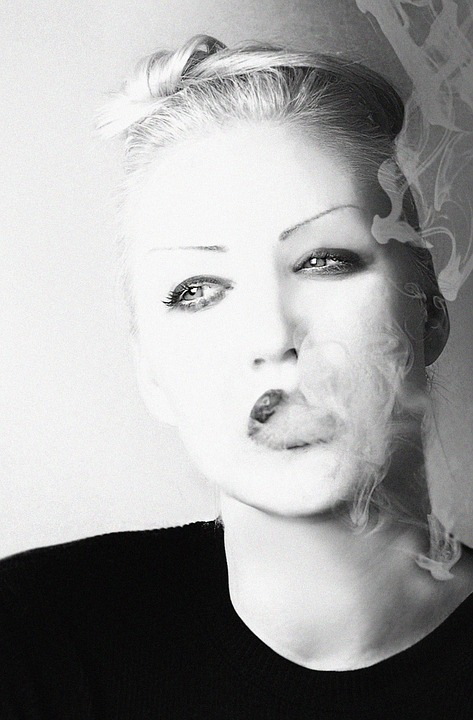 Woman, Smoke, Beauty, Polka, Portrait, Cigarette, Girl