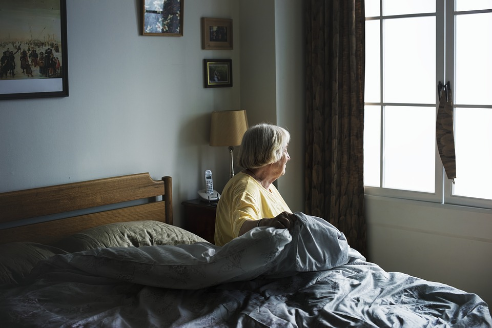 Adult, Aging, Alone, American, Assisted Living, Bed