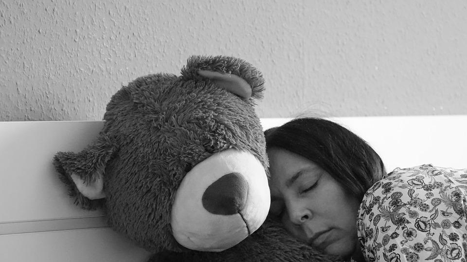 Sleep, Teddy, Woman, Tired, Bed, Rest Pause, Snuggle