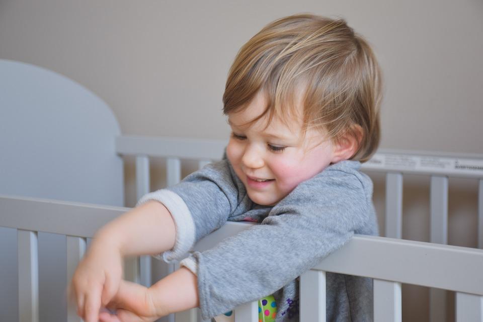 Baby, Crib, Waking Up, Nursery, Bedroom, Home, Interior