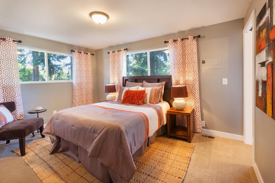 Bed, Bedroom, Staging, Curtains, Blanket