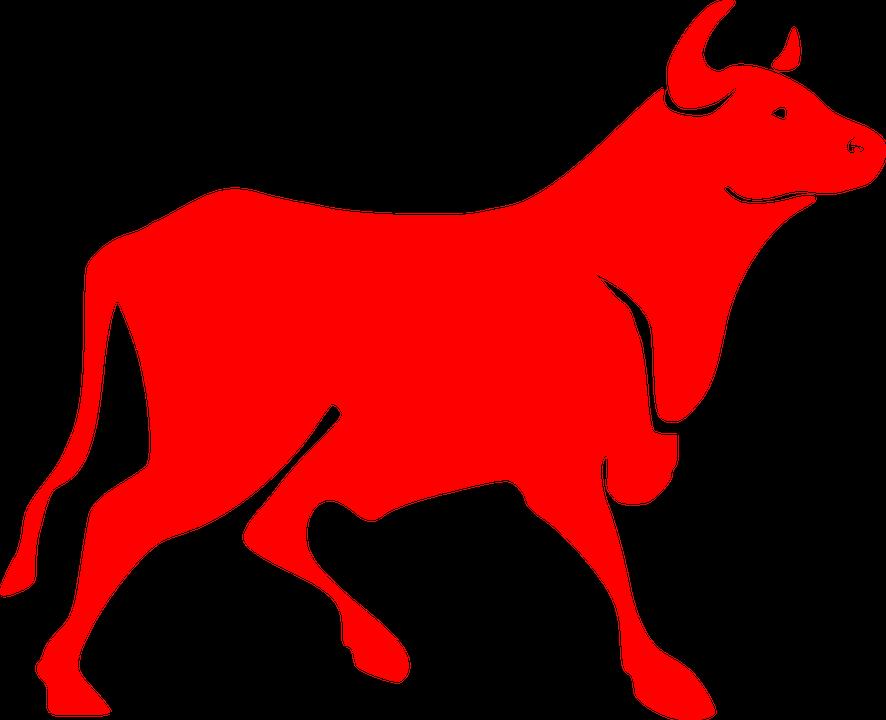 Bull, Red, Bovine, Horns, Silhouette, Cow, Animal, Beef