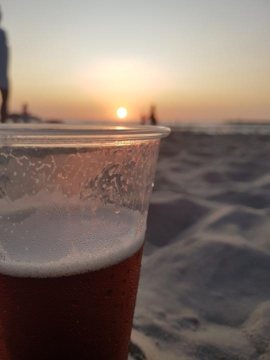 Foam, Cold, Sunset, Beer, Glass, Dawn, Frosty, Outdoors