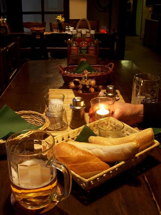 Restaurant, Inn, Beer, Bread, Roll, Eat, Drink, Candle