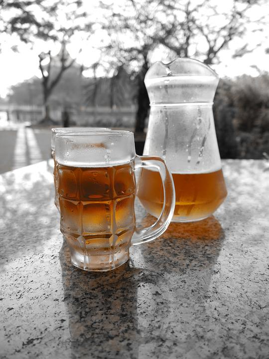 Frosty, Cold, Beer, Black And White, Drink, Alcohol