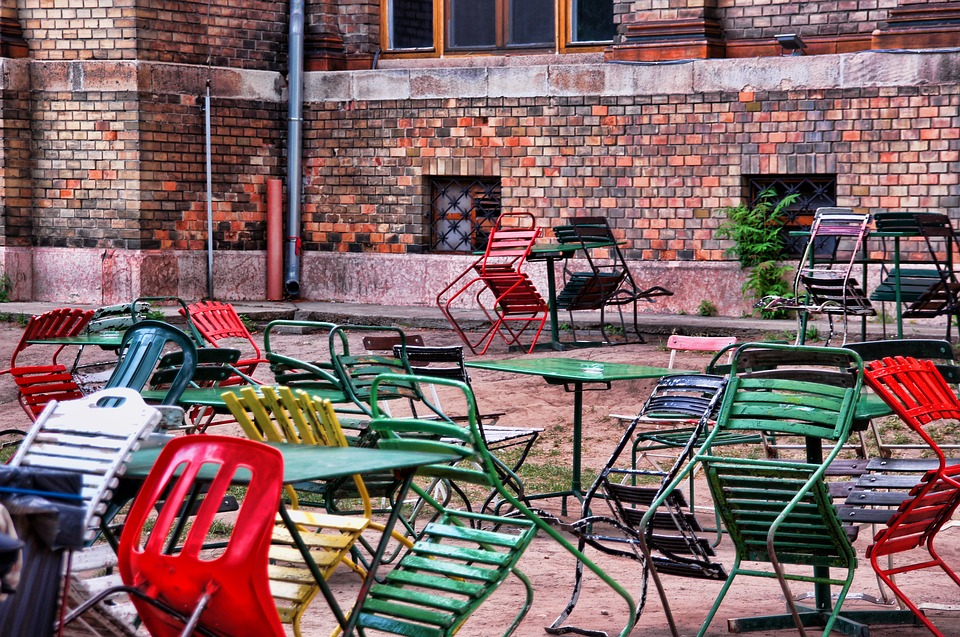 Beer Garden, Chairs, Colorful Chairs, Dining Tables