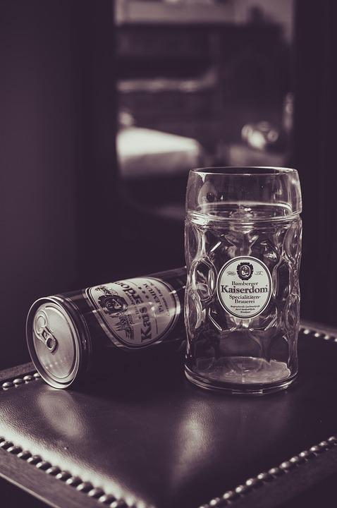 Light, Cup, Mug, Glass, Beer, Sepia, Leather, Can