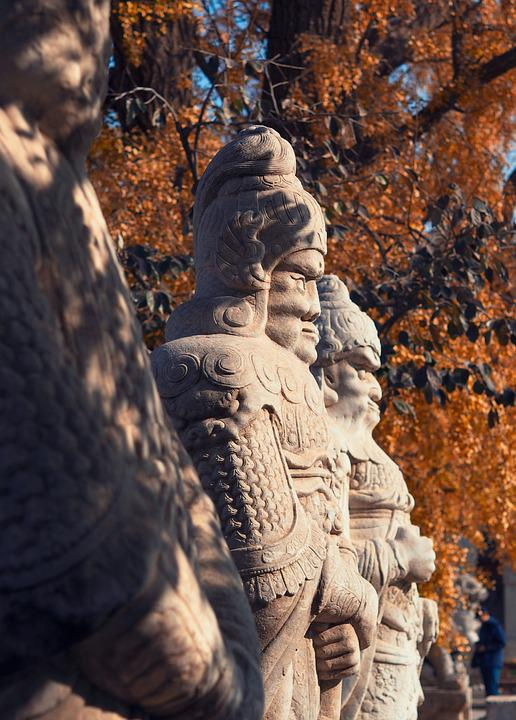 Carved Stone, Statue, Beijing, Autumn