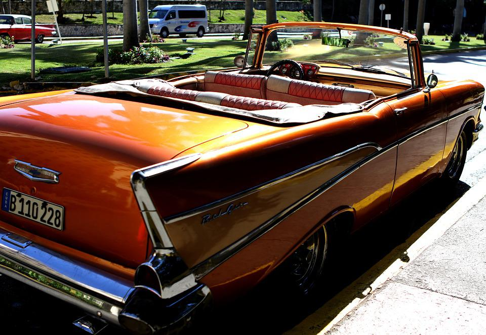 Attractive Cuba, Car, Chevy, Bel Air, Convertible, Orange, Gold
